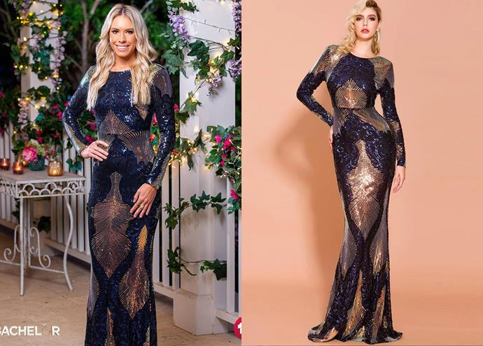 """Charley wears the 'Dynasty' gown, $329 by [Micaah](https://www.micaah.com.au/products/dynasty-sequins-gown