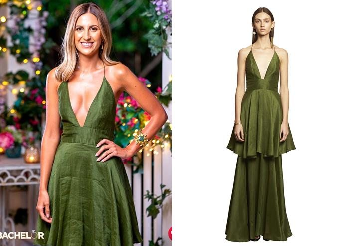 """Irena wears the 'Eminence' gown, $280 by [Ginger & Smart](https://www.gingerandsmart.com/collections/gowns-ginger-smart/products/eminence-gown