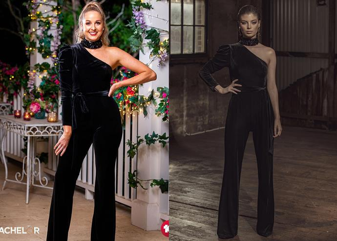 """Izzy wears the 'Midnight Rouge' pantsuit by Marian Rahme, $299 at [Catwalk Instyle](https://catwalkinstyle.com.au/products/midnight-rouge-velvet-pantsuit?_pos=3&_sid=341bdaa05&_ss=r