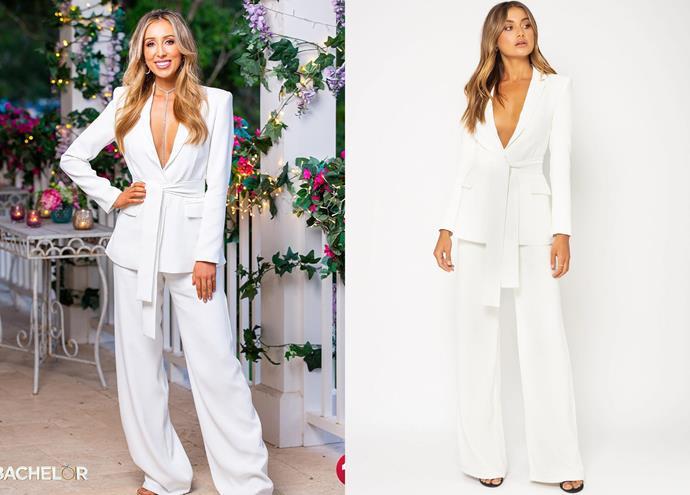 "Maddy wears the ['Ella' blazer](https://biancaandbridgett.com/products/ella-blazer-white?_pos=1&_sid=8db61a037&_ss=r|target=""_blank""|rel=""nofollow""), $270, and [trousers](https://biancaandbridgett.com/products/ella-pant-white?_pos=3&_sid=8db61a037&_ss=r|target=""_blank""|rel=""nofollow""), $190, both by Bianca and Bridgett."