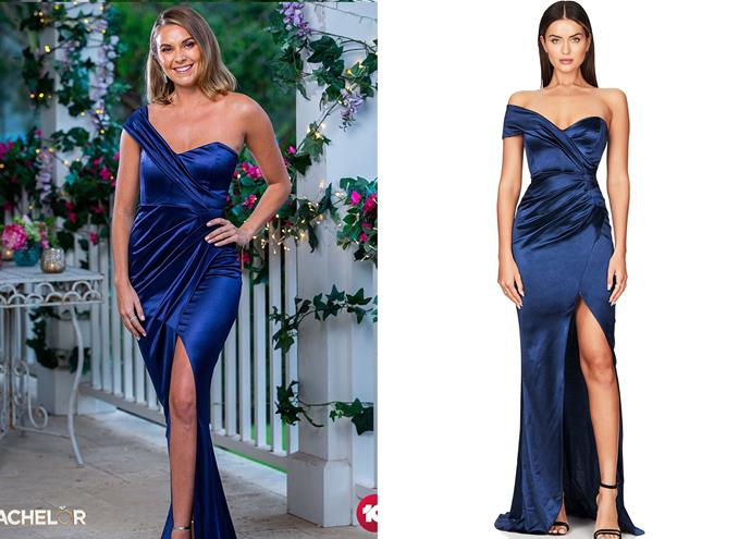"""Nicole wears the 'Zodiac' gown, $329 by [Nookie](https://www.nookie.com.au/mobile/shop/products/zodiac-one-shoulder-gown/navy