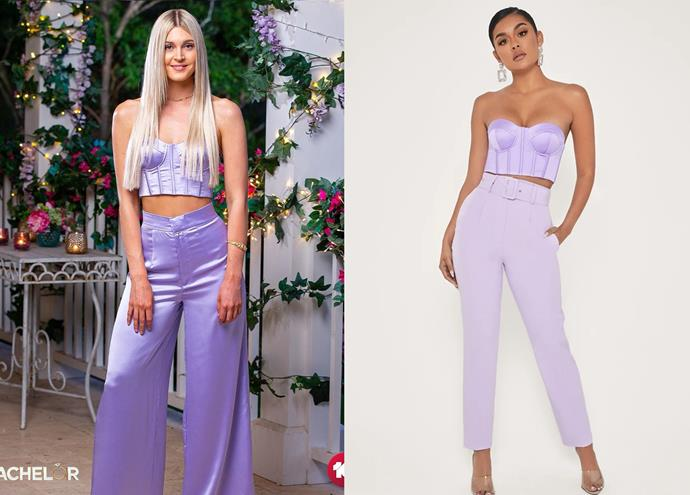 """Steph wears the 'Rosella' bustier, $55 by [Meshki](https://www.meshki.com.au/collections/tops/products/rosella-strapless-bustier-lilac