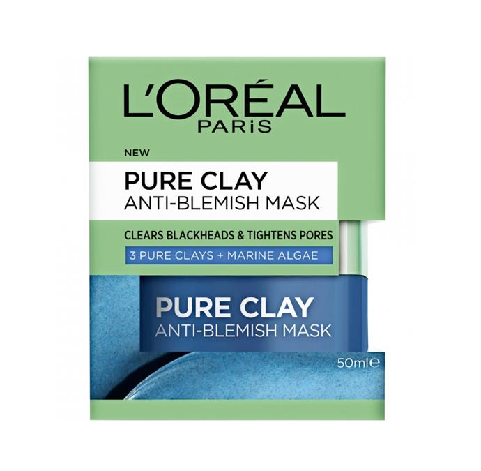 "Pure Clay Anti-Blemish Mask with Marine Algae, $19.99 by L'oréal Paris at [Priceline](https://www.priceline.com.au/l-oreal-paris-pure-clay-anti-blemish-mask-marine-algae-50-ml|target=""_blank""|rel=""nofollow"")."