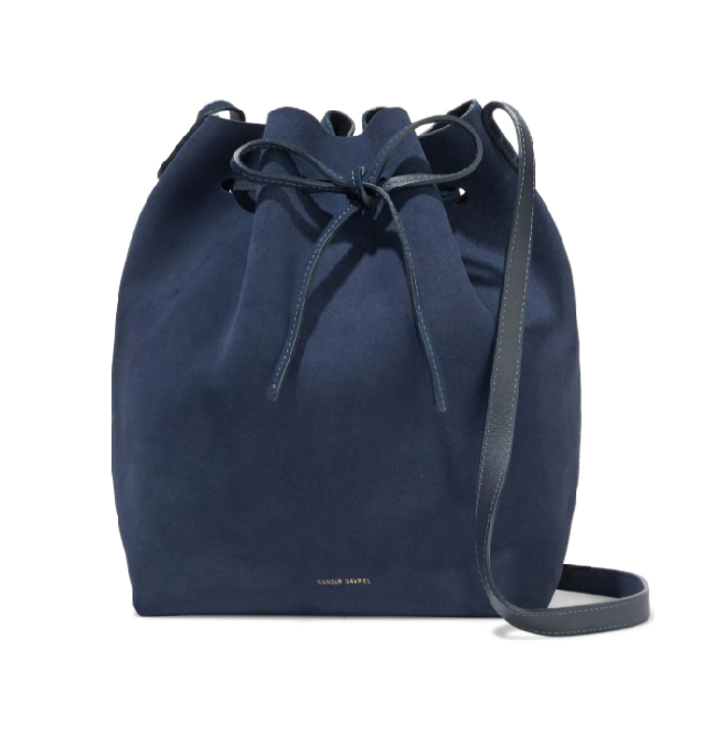 "Suede Bucket Bag in Storm Blue by Mansur Gavriel, $484 at [The Outnet](https://www.theoutnet.com/en-au/shop/product/mansur-gavriel/shoulder-bag/bucket/leather-trimmed-suede-bucket-bag/22831760541615569|target=""_blank""