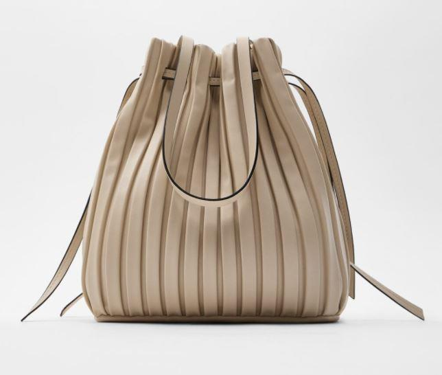 "Pleated Bucket Bag, $49.95 by [Zara](https://www.zara.com/au/en/pleated-bucket-bag-p16450510.html?v1=53450414&v2=1277497|target=""_blank""