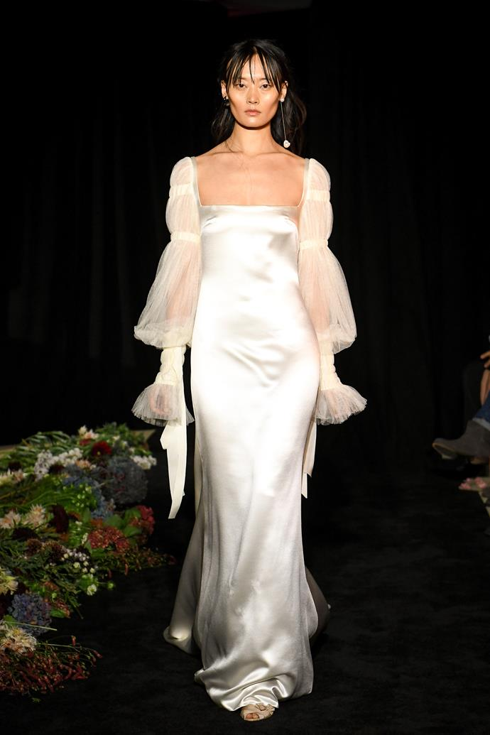 """**BEST BRIDAL FASHION SHOW**<br><br> """"Danielle's designs are so romantic and fresh. I love how she staged the show in a sort of dark romance atmosphere contrasted with the pure white dresses.""""<br><br> Danielle Frankel autumn 2020."""