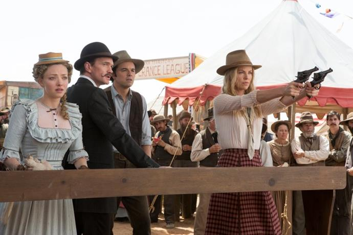***A Million Ways to Die in the West*** **(4/9/2020)**<br><br>  Mild-mannered sheep farmer Albert Stark (Seth MacFarlane) feels certain that the Western frontier is trying to kill him, then he loses his girlfriend, Louise (Amanda Seyfried), to the town's most successful businessman. However, a beautiful, pistol-packing woman named Anna (Charlize Theron) rides into town and helps Albert find his inner courage. Then Stark must put his newfound bravery to the test when Anna's outlaw husband arrives with plans to plant him in an unmarked grave.