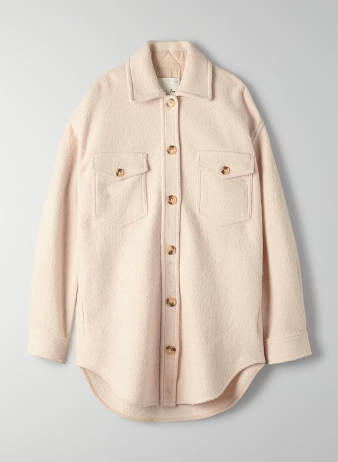 "'Ganna' Jacket by Wilfred Free, $267.30 at [Aritzia](https://www.aritzia.com/intl/en/product/ganna-jacket/72595.html?dwvar_72595_color=10250&ref=popsugar.com&country=intl|target=""_blank""|rel=""nofollow"")."