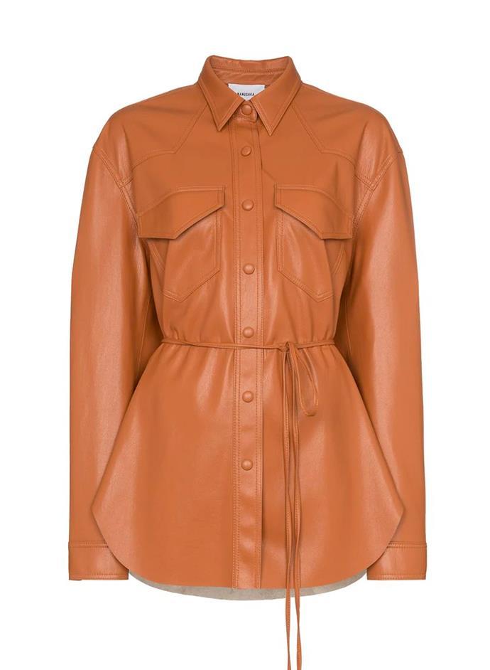"'Eddy' Shirt Jacket by Nanushka, $398 at [FARFETCH](https://www.farfetch.com/au/shopping/women/nanushka-eddy-shirt-jacket-item-14391310.aspx?storeid=11648&utm_source=k*8oqcSrcmY&utm_medium=affiliate&utm_campaign=Linkshareus&utm_content=10&utm_term=USNetwork&pid=rakuten_int&af_click_lookback=30d&clickid=k.8oqcSrcmY-QcjgxuQ0poV0cQefTMnzMw&af_sub1=37508&af_siteid=k*8oqcSrcmY&af_sub_siteid=255435&af_cost_model=CPA&af_channel=affiliate&is_retargeting=true&ranSiteID=k.8oqcSrcmY-QcjgxuQ0poV0cQefTMnzMw|target=""_blank""|rel=""nofollow"")."