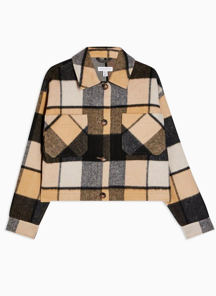 "Cropped Check Jacket with Wool by Topshop, $109.95 at [THE ICONIC](https://www.theiconic.com.au/cropped-check-jacket-with-wool-1056505.html|target=""_blank""