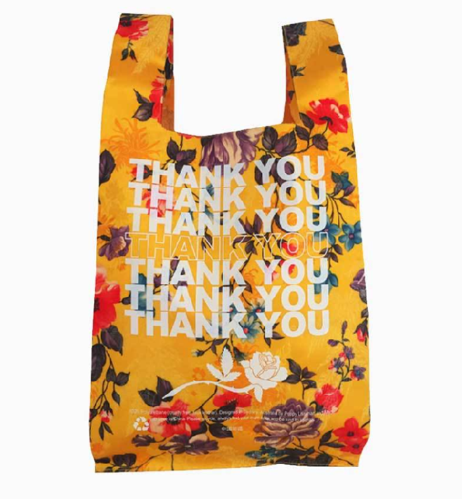 "Thank You Shopper 2.0, $95 by [Poppy Lissiman](https://poppylissiman.com/products/bags/bags-thank-you-shopper-2-0-yellow-brocade|target=""_blank""