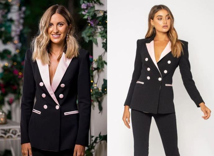 "Irena wears the 'Paris' blazer (currently sold out) and [pants](https://biancaandbridgett.com/products/paris-pant-black?_pos=1&_sid=f00163ba5&_ss=r|target=""_blank""