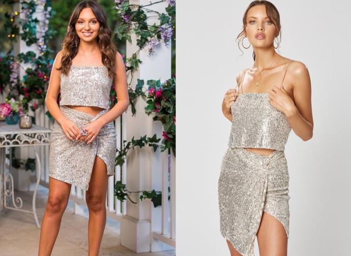 "Bella wears the 'Stella' dress, $229.95 by [Winona Australia](https://winonaaustralia.com/collections/sequins/products/stella-knot-dress-silver|target=""_blank""