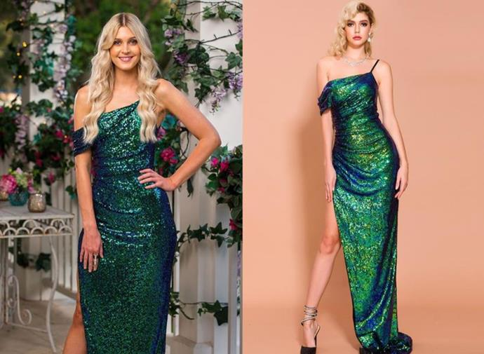 "Steph wears the 'Jade' gown, $299 by [Micaah](https://www.micaah.com.au/products/jade-green-sequins-gown|target=""_blank""