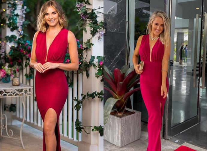 "Nicole wears the 'Manhattan' dress in Merlot, $620 by [Amy Taylor Collection](https://amytaylorcollection.com/collections/amy-taylor-collection/products/manhattan-jumpsuit?variant=34706386976902|target=""_blank""