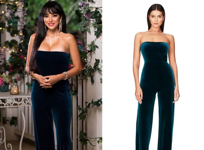 "Juliette wears the 'Mercury' jumpsuit, $289 by [Nookie](https://www.nookie.com.au/mobile/shop/products/mercury-jumpsuit/teal|target=""_blank""