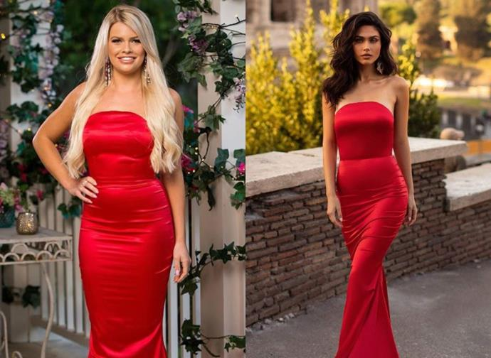 "Kaitlyn wears the 'Acacia' dress, $450 by [Alamour the Label](https://www.alamourthelabel.com/collections/all-products/products/acacia-red|target=""_blank""