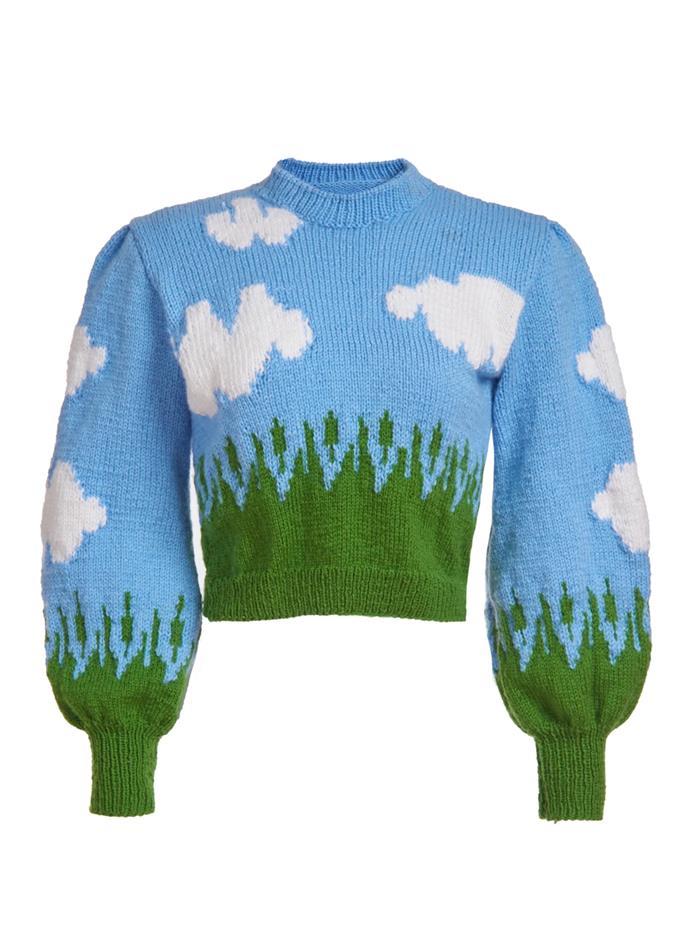 "Clouds Knit Sweater, $370.80 at [Lirika Matoshi](https://lirikamatoshi.com/collections/tops/products/clouds-knit-sweater|target=""_blank""|rel=""nofollow"")."