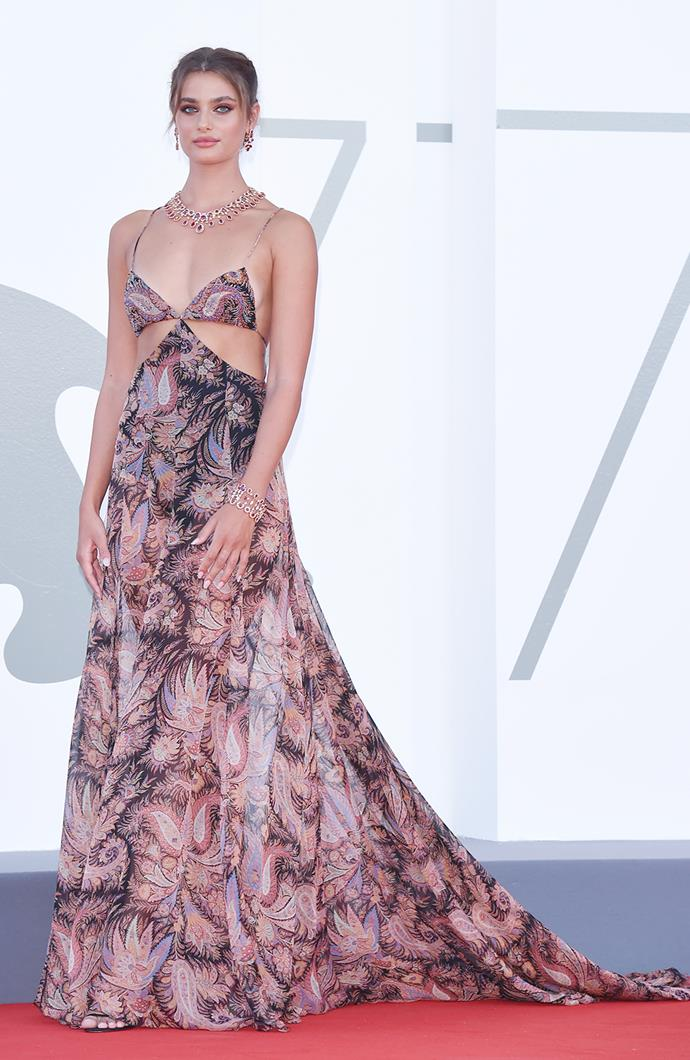 Taylor Hill in Etro gown with Chopard jewellery.