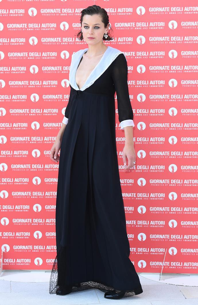 Emma Corrin in Miu Miu dress with Chaumet jewellery.