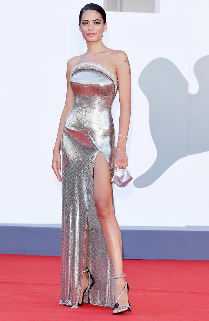 Italian musician Elodie in Versace.