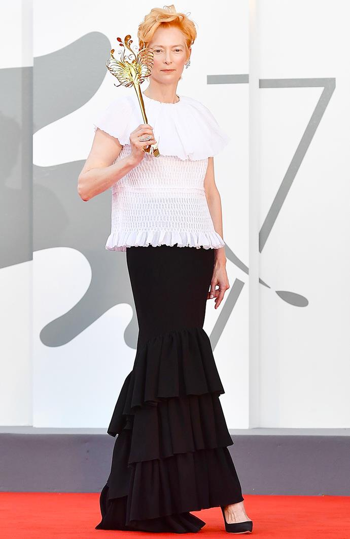 Tilda Swinton in Chanel with James Merry mask.