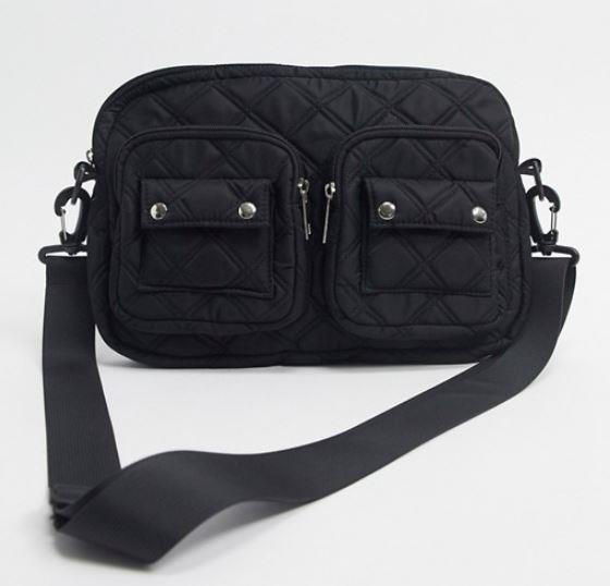 "Quilted Crossbody Bag by Pieces, $56 at [ASOS](https://www.asos.com/au/pieces/pieces-crossbody-bag-in-black-quilted-nylon/prd/14646472?colourwayid=16633112&SearchQuery=nylon%20bag|target=""_blank""