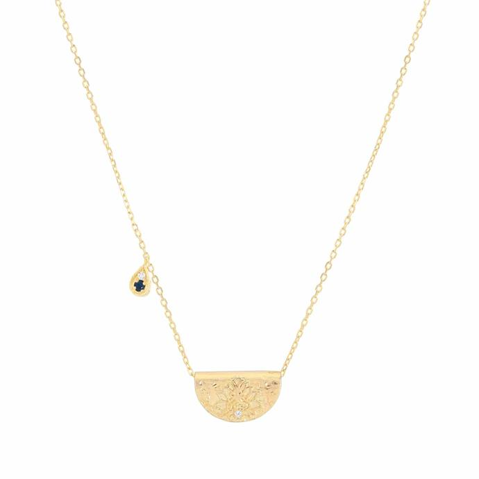"""Live With Devotion Lotus Birthstone Necklace, $189 at [By Charlotte](https://bycharlotte.com.au/products/live-with-devotion-necklace-september