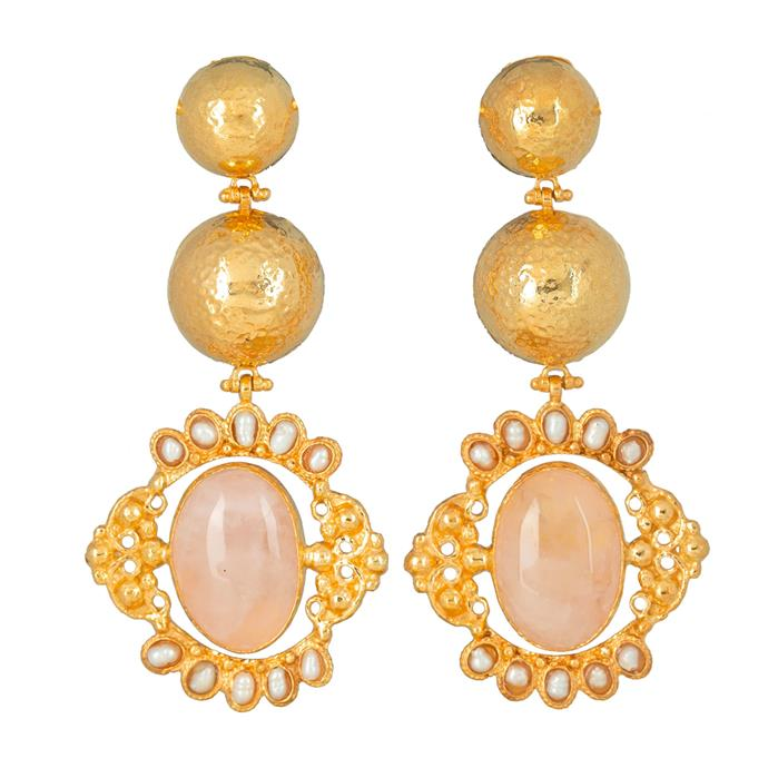 """'Paloma' Earrings in Pale Pink, $299 at [Christie Nicolaides](https://www.christienicolaides.com.au/collections/cult-classics/products/paloma-earrings-pale-pink