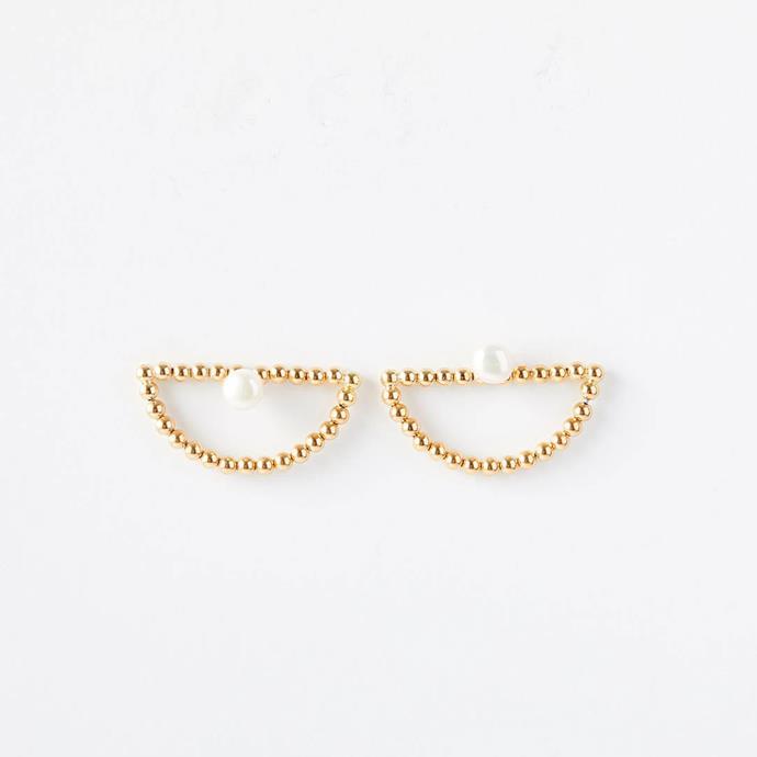 "Mini 'Mystic' Stud Earrings, $825 at [Lucy Folk](https://lucyfolk.com/products/mini-mystic-studs-9kt-yellow-gold|target=""_blank""|rel=""nofollow"")."