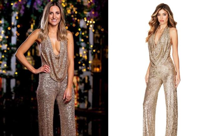 "Irena wore the 'Fantasy' Jumpsuit, $339 by [Nookie](https://www.nookie.com.au/mobile/shop/products/fantasy-jumpsuit-/gold|target=""_blank""