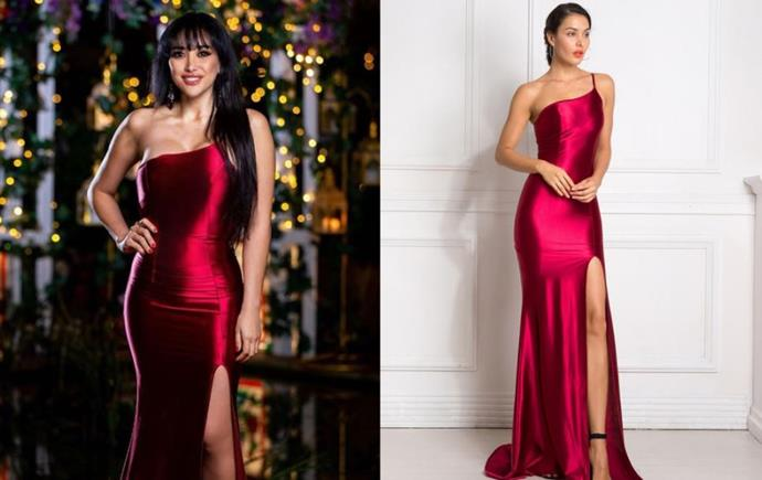 "Juliette wears the 'Rio' gown, $279 by [Micaah](https://www.micaah.com.au/collections/formal-dresses/products/rio-gown-burgundy|target=""_blank""