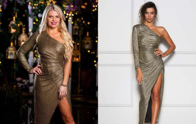 "Kaitlyn wears the 'Opal Gold' dress, $320 by [Elle Zeitoune](https://ellezeitoune.com.au/item/1534-Opal-Gold/|target=""_blank""