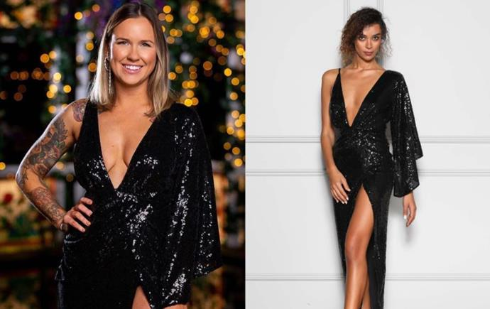 "Roxi wears the 'Tinley' dress, $310 by [Elle Zeitoune](https://ellezeitoune.com.au/item/1526-Tinley-Black-Sequin/|target=""_blank""