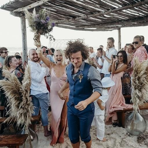 **Malin Akerman**<br><br> Ackerman wedded British actor Jack Donnelly back in 2018 and looked effortlessly gorgeous in a pink Cushnie slip dress. The dress perfectly fit with the bohemian-themed beachfront wedding.
