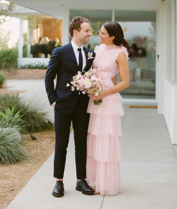 "**Mandy Moore**<br><br> Moore wore a custom pale pink tulle Rodarte gown on her big day in 2018. Before she had even chosen the dress, she revealed to *People* that she was ""kind of confident that it's not going to be the stereotypical white wedding dress, because it just doesn't feel the most me."""