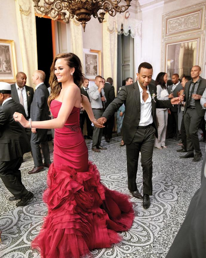 **Chrissy Teigen**<br><br> While the model wore two white dresses for her 2013 wedding ceremony and reception to musician John Legend, she later changed into a third show-stopping, red Vera Wang gown for the after-party. Finish things off with a bang, we say.</p>