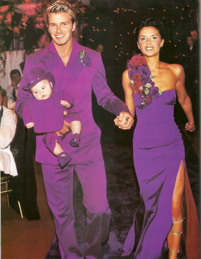 **Victoria Beckham**<br><br> She may have worn white to the ceremony, but the reception at the Beckahms' 1999 nuptials was an explosion of purple. We can't help but wonder what VB thinks of this bold number now.