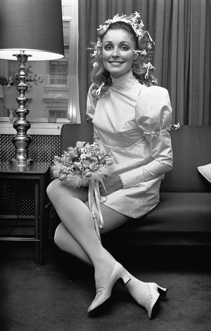 Sharon Tate wearing an ivory silk mini wedding dress by Alba in 1968.<br><br>