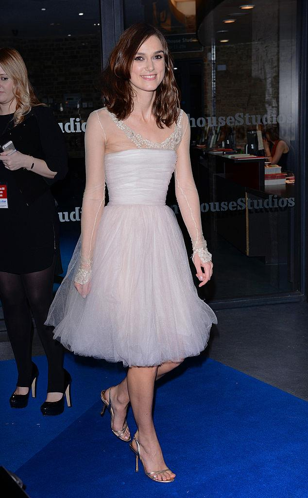 Keira Knightley wearing her Chanel wedding dress for a third time on the red carpet in 2013.