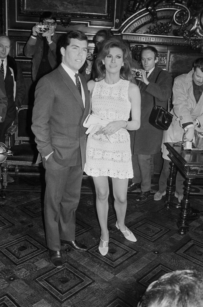 Racquel Welch wearing a crochet mini dress to her wedding in 1967.