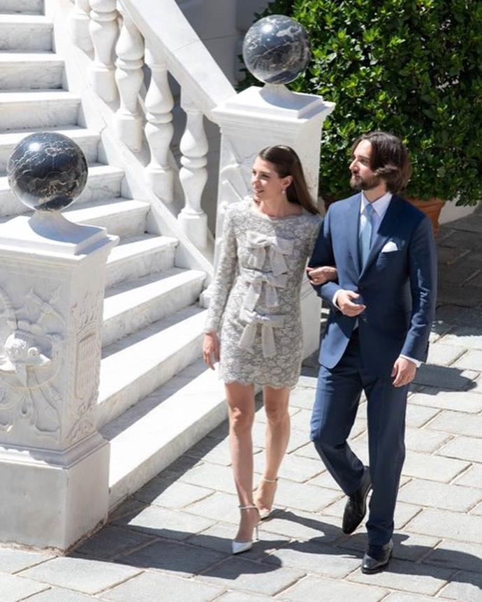 Charlotte Casiraghi wearing a Saint Laurent mini dress to her civil ceremony in 2019.<br><br>  *Image via Palais Princier*