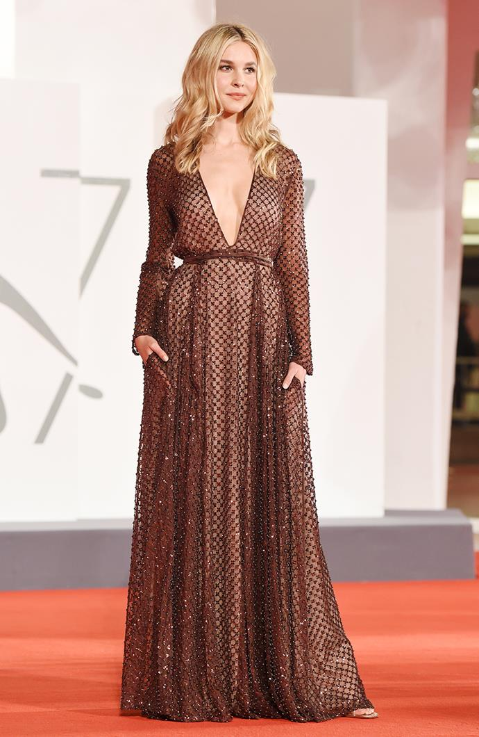 Isabel May in Valentino.