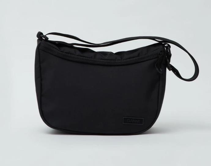 "Recycled Tech Fabrics Bag by GANNI, $245 at [Incu](https://www.incu.com/products/recycled-tech-fabric-bags?variant=32482702852150&currency=AUD&utm_medium=product_sync&utm_source=google&utm_content=sag_organic&utm_campaign=sag_organic&utm_campaign=gs-2020-07-24&utm_source=google&utm_medium=smart_campaign&gclid=CjwKCAjw19z6BRAYEiwAmo64LSerFuTFf1F6Jw02i2cJ-xeUKFLS28oY8FiE1kLjD3QvJ1K0S0ALRhoCW8IQAvD_BwE|target=""_blank""|rel=""nofollow"")."