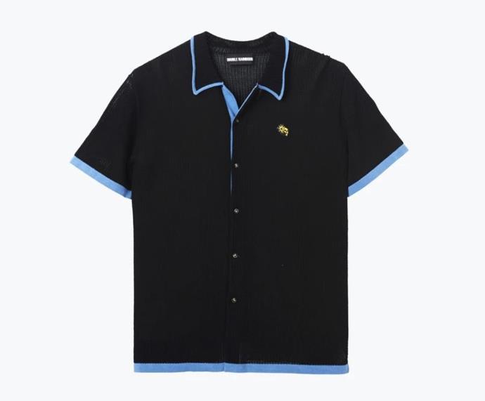 "Black Dusk Knit Shirt, $259 by [Double Rainbouu](https://www.doublerainbouu.com/collections/womens-all/products/black-dusk-knit-shirt target=""_blank"" rel=""nofollow"")."