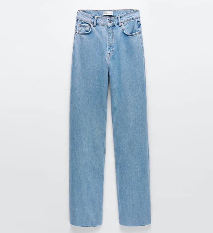 "ZW Premium 90s Full Length Serenity Blue Jeans, $69.95 by [Zara](https://www.zara.com/au/en/zw-premium-90s-full-length-serenity-blue-jeans-p06840252.html?v1=65705356&v2=1277491|target=""_blank""|rel=""nofollow"")."
