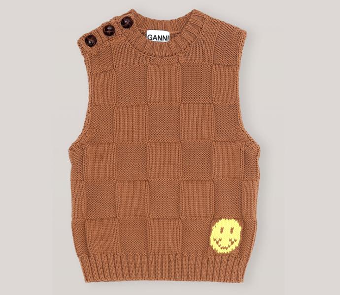 "Cotton Robe Knit Vest, $345 by [GANNI](https://www.ganni.com/en-au/cotton-robe-knit-vest-K1443.html?dwvar_K1443_color=Tiger%27s%20Eye|target=""_blank""|rel=""nofollow"")."