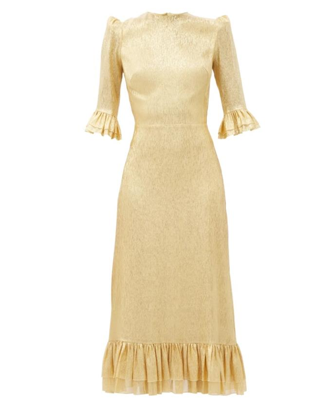 "Dress by The Vampire's Wife, $2,842 at [MatchesFashion](https://www.matchesfashion.com/au/products/The-Vampire%27s-Wife-The-Falconetti-ruffled-metallic-chiffon-midi-dress-1374766|target=""_blank""