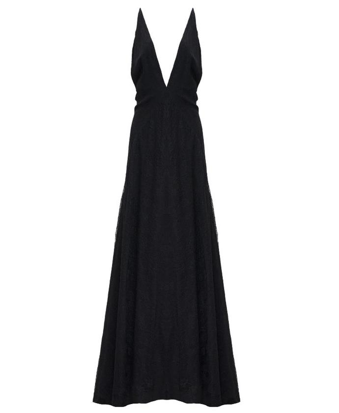 "Dress by Michael Lo Sordo, $500 at [The Undone](https://www.theundone.com/collections/dresses/products/michael-lo-sordo-alexandra-v-neck-lace-maxi-dress-black|target=""_blank""
