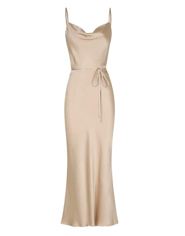 "Dress, $240 by [Shona Joy](https://shonajoy.com.au/collections/dresses/products/la-lune-bias-cowl-midi-dress-gold?variant=31717227528285|target=""_blank""